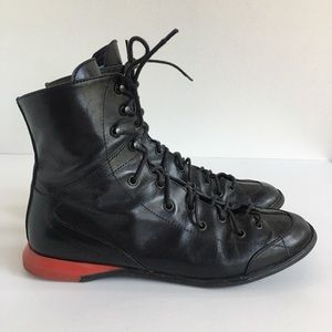 E-MAIL Women UK 5 US 7 Black Leather Lace-Up Boots